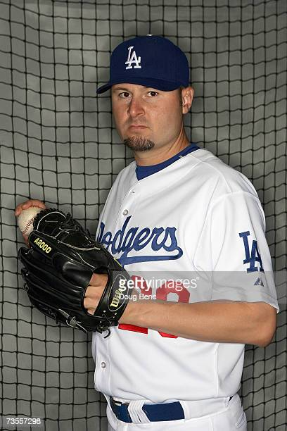 Pitcher Jason Schmidt of the Los Angeles Dodgers poses during Photo Day on February 27 2007 at Dodgertown in Vero Beach Florida