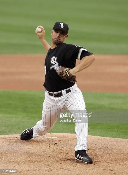 Pitcher Javier Vazquez of the Chicago White Sox pitches during the game against the St Louis Cardinals on June 20 2006 at US Cellular Field in...
