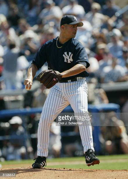 Pitcher Javier Vazquez of the New York Yankees pitches during the Spring Training game against the Toronto Blue Jays on March 6, 2004 at Legends...