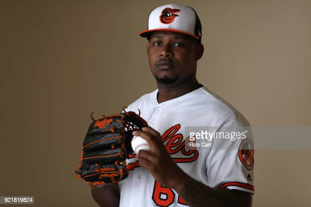 Pitcher Jayson Aquino of the Baltimore Orioles poses for a photo during photo days at Ed Smith Stadium on February 20 2018 in Sarasota FL
