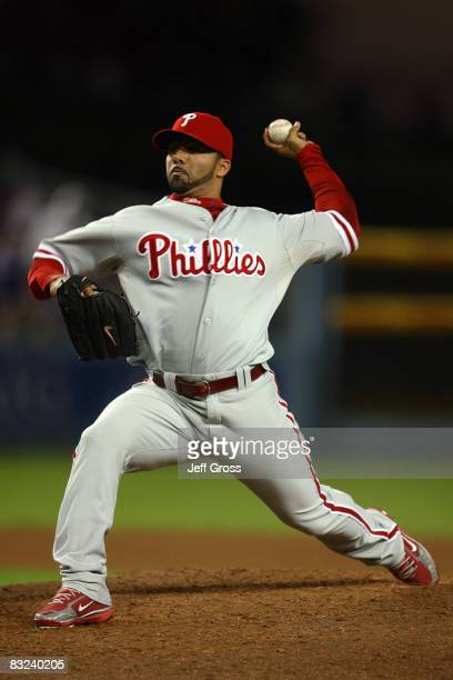 Pitcher J.C. Romero of the Philadelphia Phillies on the mound against the Los Angeles Dodgers in Game Three of the National League Championship...