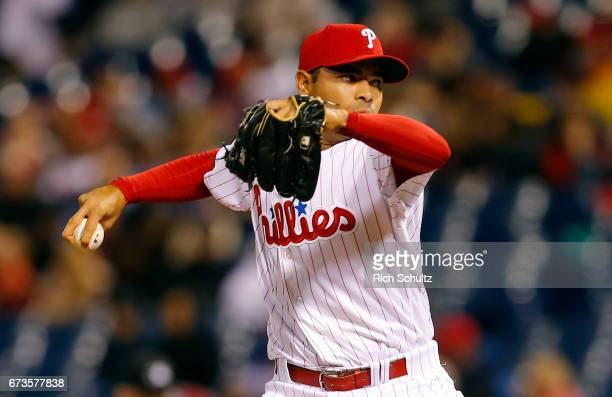 Pitcher Jeanmar Gomez of the Philadelphia Phillies in action against the Atlanta Braves during a game at Citizens Bank Park on April 22 2017 in...