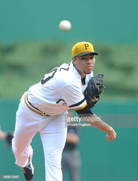 Pitcher Jeanmar Gomez of the Pittsburgh Pirates throws a pitch against the Cincinnati Reds on June 2 2013 at PNC Park in Pittsburgh Pennsylvania