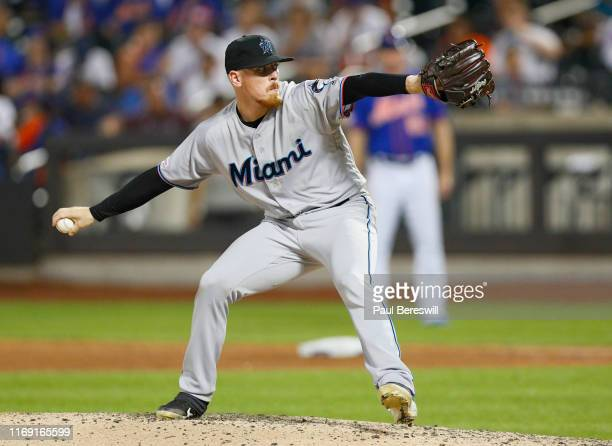Pitcher Jeff Brigham of the Miami Marlins pitches in relief in the second game of a doubleheader against the New York Mets on August 5 2019 at Citi...
