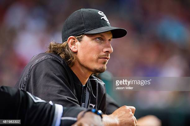 Pitcher Jeff Samardzija of the Chicago White Sox watches the game from the dugout during the ninth inning against the Cleveland Indians at...