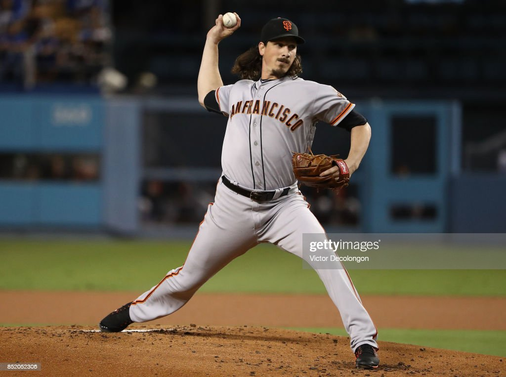 Pitcher Jeff Samardzija #29 of the San Francisco Giants pitches during the first inning of the MLB game against the Los Angeles Dodgers at Dodger Stadium on September 22, 2017 in Los Angeles, California.