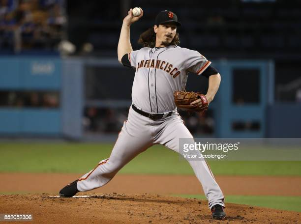 Pitcher Jeff Samardzija of the San Francisco Giants pitches during the first inning of the MLB game against the Los Angeles Dodgers at Dodger Stadium...