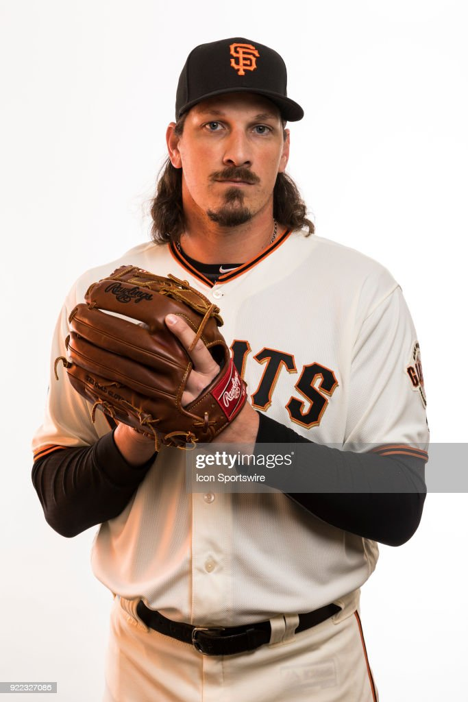 Pitcher Jeff Samardzija (29) poses for a photo during the San Francisco Giants photo day on Tuesday, Feb. 20, 2018 at Scottsdale Stadium in Scottsdale, Ariz.
