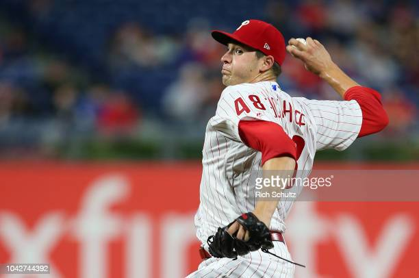 Pitcher Jerad Eickhoff of the Philadelphia Phillies delivers a pitch against the Atlanta Braves during the second inning of a game at Citizens Bank...