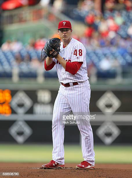 Pitcher Jerad Eickhoff of the Philadelphia Phillies delivers a pitch against the Milwaukee Brewers during a game at Citizens Bank Park on June 2 2016...