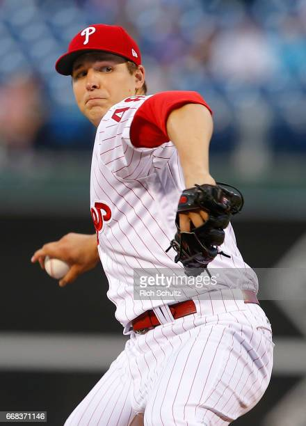 Pitcher Jerad Eickhoff of the Philadelphia Phillies delivers a pitch against the New York Mets during a game at Citizens Bank Park on April 10 2017...