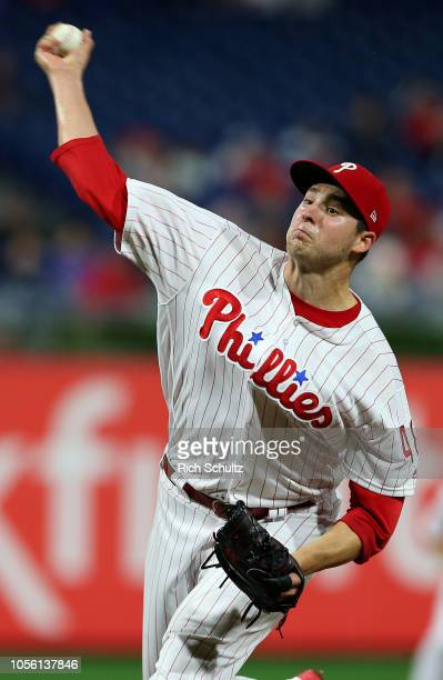 Pitcher Jerad Eickhoff of the Philadelphia Phillies in action against the Atlanta Braves during a game at Citizens Bank Park on September 28 2018 in...