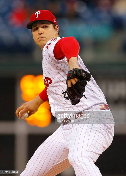 Pitcher Jerad Eickhoff of the Philadelphia Phillies in action against the Atlanta Braves during a game at Citizens Bank Park on April 22 2017 in...