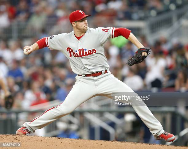 Pitcher Jerad Eickhoff of the Philadelphia Phillies throws a pitch in the second inning during the game against the Atlanta Braves at SunTrust Park...