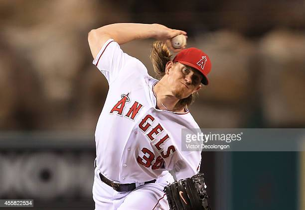Pitcher Jered Weaver of the Los Angeles Angels of Anaheim pitches in the fourth inning during the MLB game against the Texas Rangers at Angel Stadium...