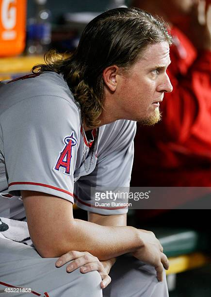 Pitcher Jered Weaver of the Los Angeles Angels of Anaheim sits in the dugout after being taken out of the game in the sixth inning at Comerica Park...