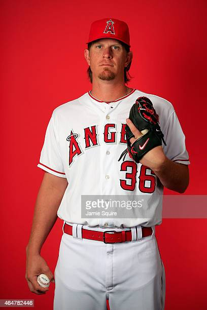 Pitcher Jered Weaver poses during Los Angeles Angels of Anaheim Photo Day on February 28 2015 in Tempe Arizona