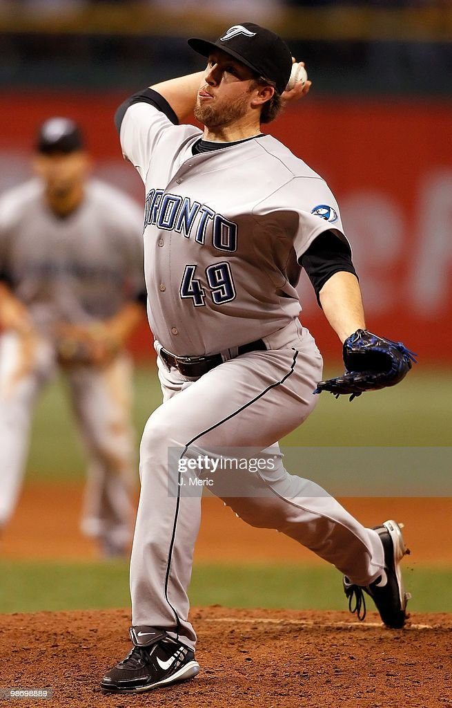 Pitcher Jeremy Accardo #49 of the Toronto Blue Jays pitches against the Tampa Bay Rays during the game at Tropicana Field on April 24, 2010 in St. Petersburg, Florida.