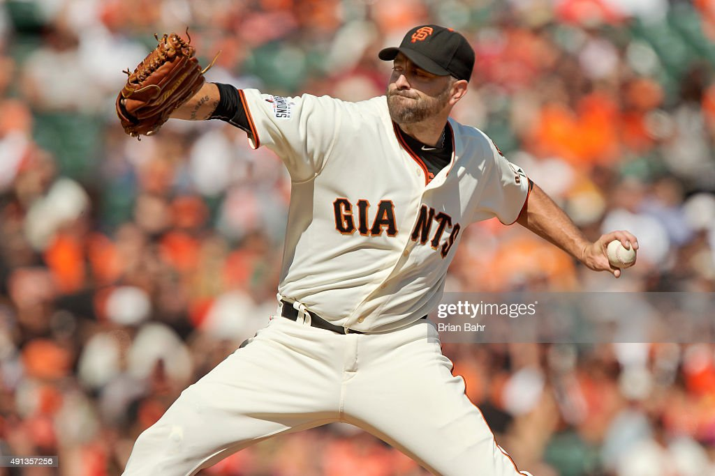 Pitcher Jeremy Affeldt #41 of the San Francisco Giants throws against the Colorado Rockies in his final game before retirement in the sixth inning at AT&T Park on October 4, 2015 in San Francisco, California, during the final day of the regular season. The Rockies won 7-3.