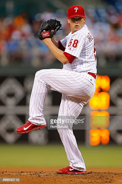 Pitcher Jeremy Hellickson of the Philadelphia Phillies in action against the Atlanta Braves during a game at Citizens Bank Park on September 2 2016...