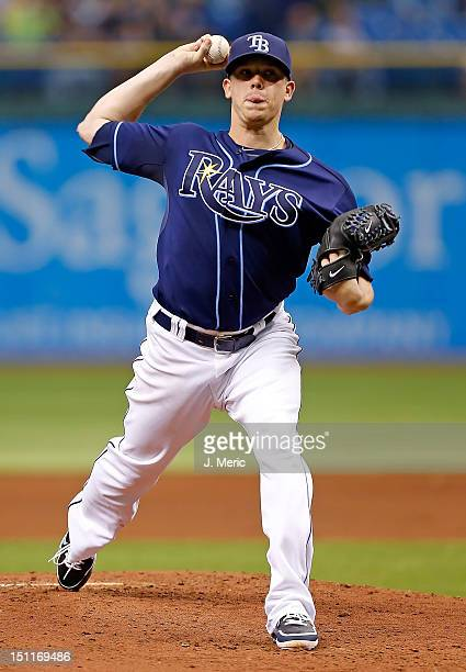 Pitcher Jeremy Hellickson of the Tampa Bay Rays pitches against the Oakland Athletics during the game at Tropicana Field on August 25 2012 in St...