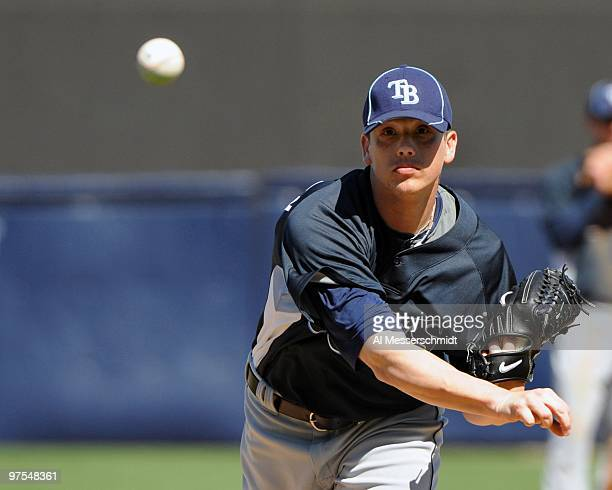 Pitcher Jeremy Hellickson of the Tampa Bay Rays throws in relief against the New York Yankees March 5 2010 at the George M Steinbrenner Field in...