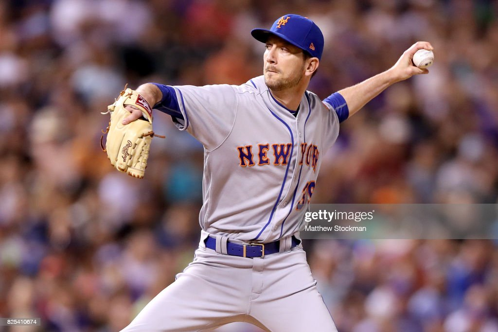 Pitcher Jerry Blevins #39 of the New York Mets throws in the eighth inning against the Colorado Rockies at Coors Field on August 1, 2017 in Denver, Colorado.