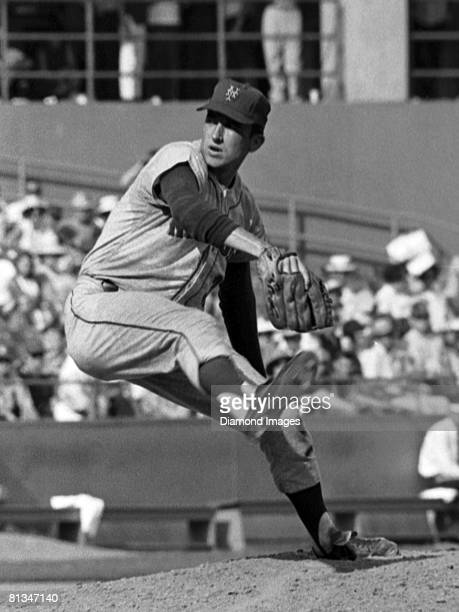 Pitcher Jerry Koosman of the New York Mets throws a pitch during the second game of a doubleheader on July 21, 1968 against the St. Louis Cardinals...