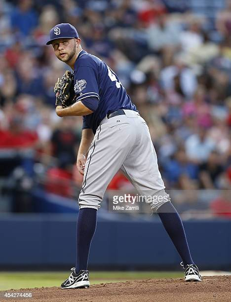 Pitcher Jesse Hahn of the San Diego Padres looks over at first base in the second inning of the game against the Atlanta Braves at Turner Field on...