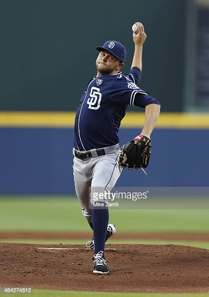 Pitcher Jesse Hahn of the San Diego Padres throws a pitch in the first inning of the game against the Atlanta Braves at Turner Field on July 25 2014...