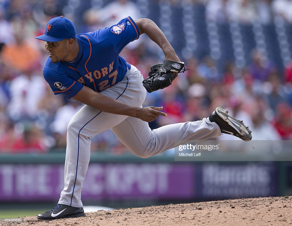 Pitcher Jeurys Familia #27 of the New York Mets throws a pitch in the bottom of the eighth inning against the Philadelphia Phillies on August 11, 2014 at Citizens Bank Park in Philadelphia, Pennsylvania.