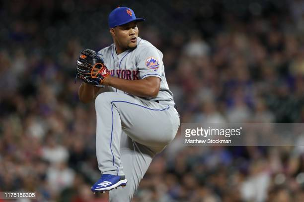 Pitcher Jeurys Familia of the New York Mets throws in the sixth inning against the Colorado Rockies at Coors Field on September 16, 2019 in Denver,...