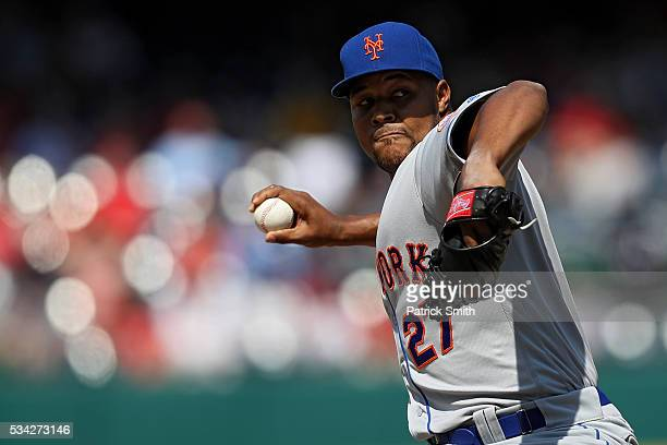 Pitcher Jeurys Familia of the New York Mets works the ninth inning against the Washington Nationals at Nationals Park on May 25 2016 in Washington DC