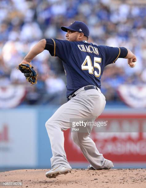 Pitcher Jhoulys Chacin of the Milwaukee Brewers pitches during the first inning of Game Three of the National League Championship Series against the...