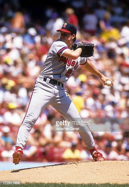 Pitcher Jim Abbott of the California Angels readies to throw a pitch during an MLB game in July 1991