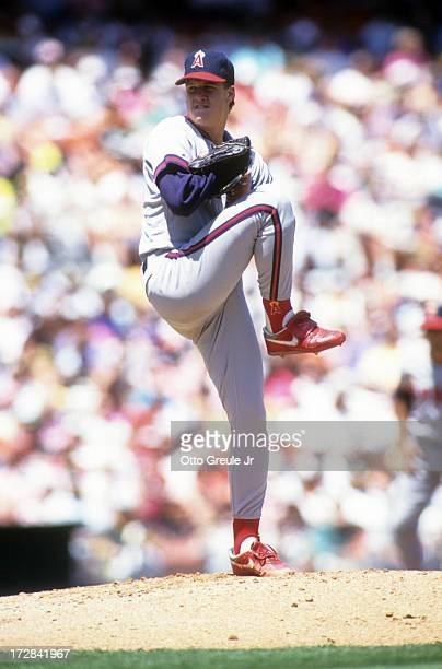 Pitcher Jim Abbott of the California Angels readies to throw a pitch during an MLB game against the Oakland Athletics on April 28 1991 at the Oakland...