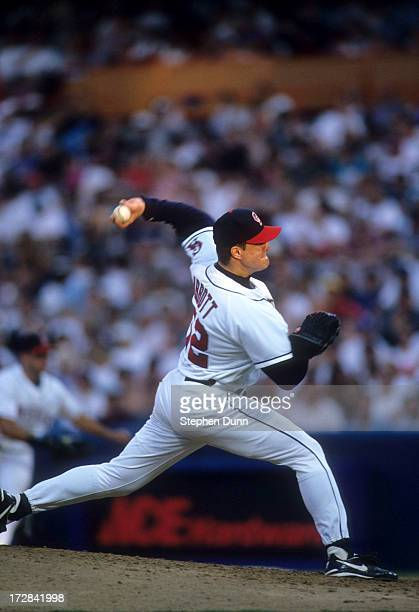Pitcher Jim Abbott of the California Angels readies to throw a pitch during an MLB game against the Cleveland Indians on May 12 1996 at Anaheim...