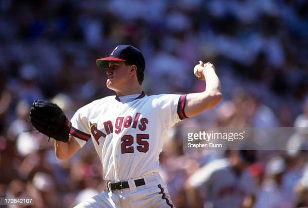 Pitcher Jim Abbott of the California Angels readies to throw a pitch during an MLB game against the Minnesota Twins on August 7 1991 at Anaheim...