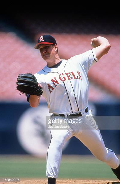 Pitcher Jim Abbott of the California Angels readies to throw a pitch during an MLB game against the Baltimore Orioles on June 2 1996 at Anaheim...