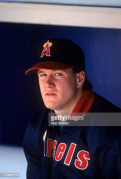 Pitcher Jim Abbott of the California Angels sits in the dugout during an MLB game circa 1991