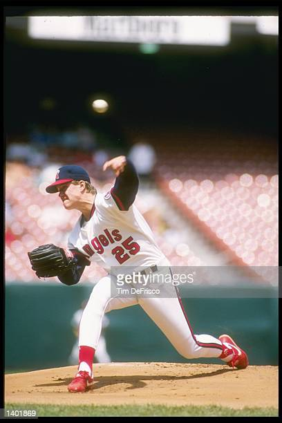 Pitcher Jim Abbott of the California Angels throws a pitch during a game at Anaheim Stadium in Anaheim California Mandatory Credit Tim de Frisco...