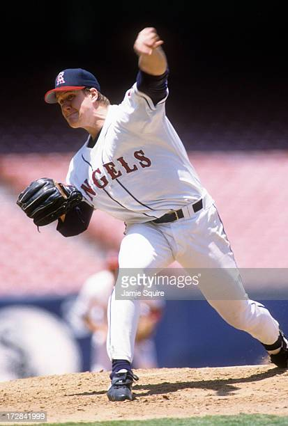 Pitcher Jim Abbott of the California Angels throws a pitch during an MLB game against the Toronto Blue Jays on June 16 1996 at Anaheim Stadium in...