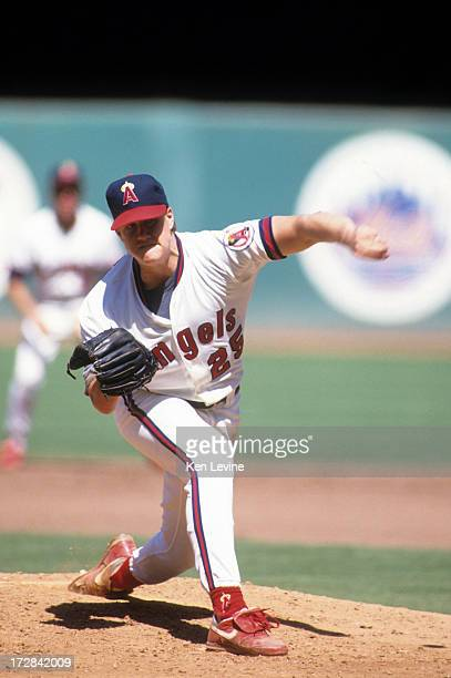 Pitcher Jim Abbott of the California Angels throws a pitch during an MLB game against the Detroit Tigers circa 1991 at Anaheim Stadium in Anaheim...