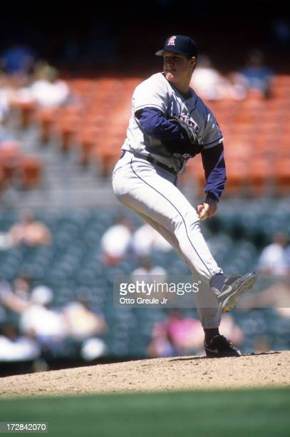 Pitcher Jim Abbott of the California Angels throws a pitch during an MLB game against the Oakland Athletics on May 2 1996 at the Oakland Coliseum in...