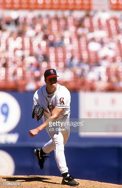Pitcher Jim Abbott of the California Angels throws a pitch during an MLB game against the Minnesota Twins on September 10 1995 at Anaheim Stadium in...