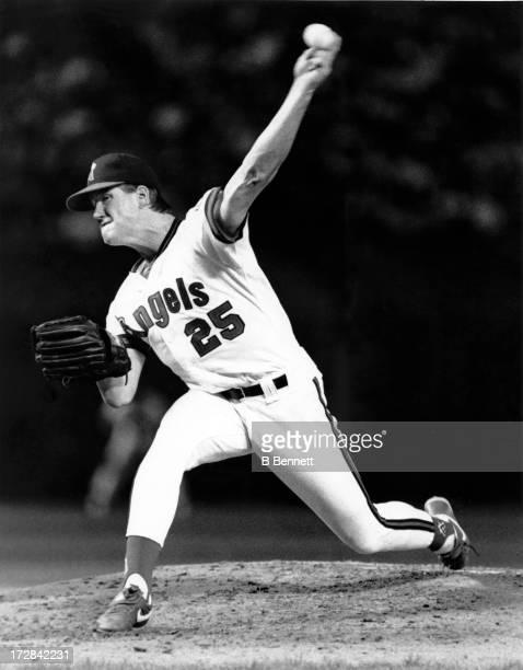 Pitcher Jim Abbott of the California Angels throws a pitch during an MLB game circa 1990 at Anaheim Stadium in Anaheim California