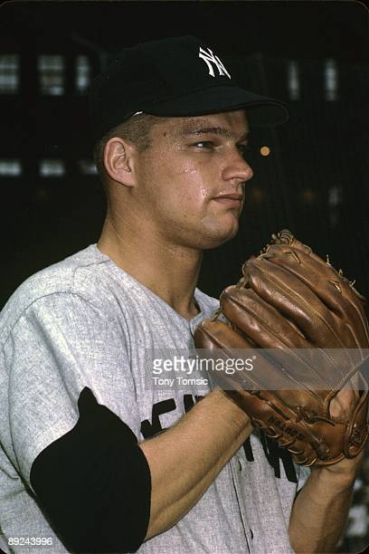 Pitcher Jim Bouton of the New York Yankees poses for a portrait prior to a game in June, 1963 against the Cleveland Indians at Municipal Stadium in...