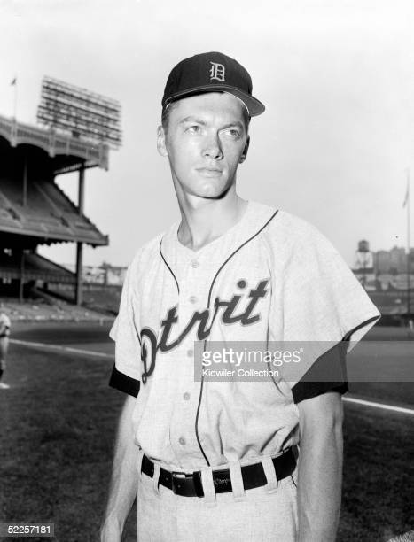 Pitcher Jim Bunning of the Detroit Tigers poses for a portrait before a 1956 season game against the New York Yankees at Yankee Stadium in the Bronx...