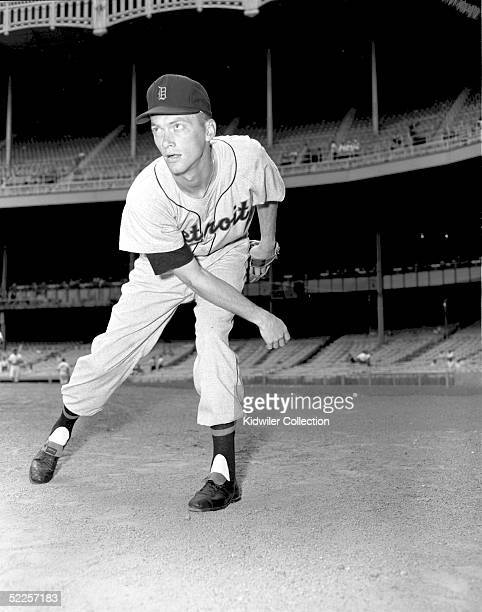 Pitcher Jim Bunning of the Detroit Tigers poses for an action portrait before a 1956 season game against the New York Yankees at Yankee Stadium in...