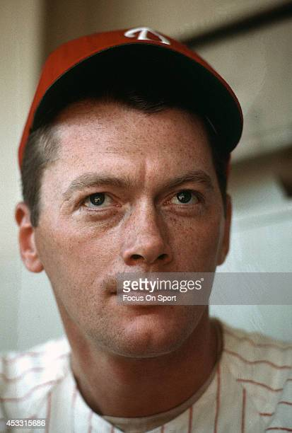 Pitcher Jim Bunning of the Philadelphia Phillies looks on from the dugout during a Major League Baseball game circa 1964 at Connie Mack Stadium in...